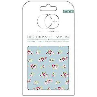 Craft Consortium kastade rosor blå decoupage papper (CCDECP273)
