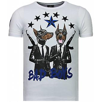 Bad Boys Pinscher-Rhinestone T-shirt-White