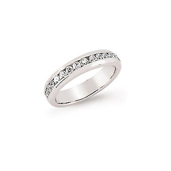 Jewelco London Rhodium Plated Sterling Silver Round Brilliant Cubic Zirconia Channel Set Eternity Ring