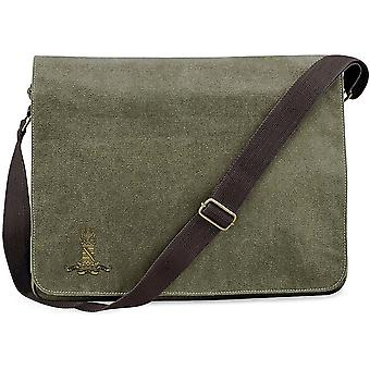 11o Húsares - Ejército Británico con licencia bordado Vintage Canvas Despatch Messenger Bag