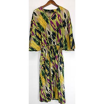 Dennis Basso Painterly Print Batwing Sleeve Robe Multi-Color A223469
