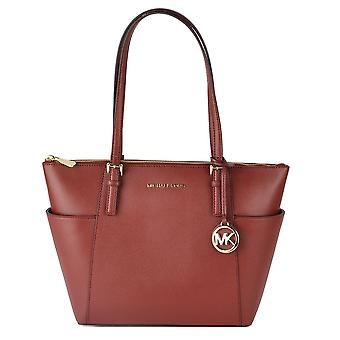 MICHAEL by Michael Kors Jet Set Item Brandy Saffiano Top Zip Tote