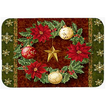 Holly Wreath with Christmas Ornaments Glass Cutting Board Large PTW2007LCB