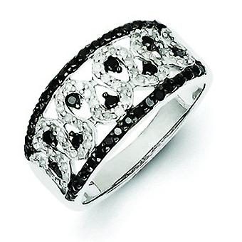 Sterling Silver Polished Prong set Gift Boxed Black and White Diamond Cigar Band Ring - Ring Size: 6 to 8