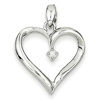 Sterling Silver Diamond Heart Pendant - .05 dwt