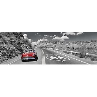 Vintage car moving on the road Route 66 Arizona USA Poster Print