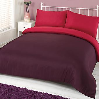 Plain Dyed Duvet Cover with Pillowcase Reversible Bedding Set Single Double King
