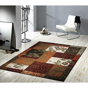 Design Velours Teppich Patchwork Optik Bordüre terra / rot / beige / braun 101182