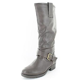 Ladies Spot On Asymmetric Zip Biker Style Boots Brown Size 6