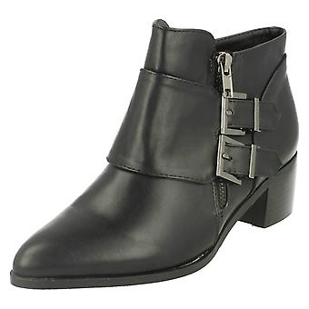 Ladies Spot On Buckle Detail Mid Heel Ankle Boots