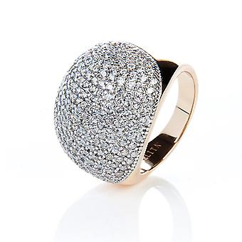 22ct Gold Vermeil Micro Pave Statement Cocktail  Ball Ring - White Zircon