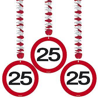 Spiral Garland 3 St. traffic sign number 25 birthday rotor spirals