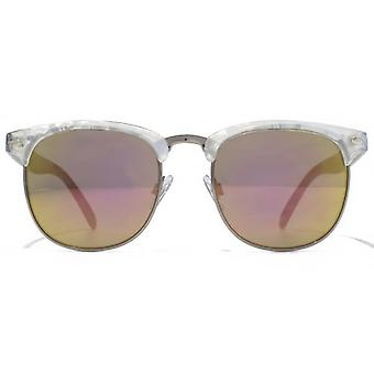 American Freshman Plastic & Metal Combination Sunglasses In Clear Marble Gunmetal
