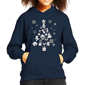 Super Mario Bros Christmas Tree Silhouette White Kid's Hooded Sweatshirt