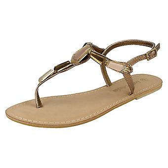 Ladies Spot On Leather Collection Toe Post Sandals