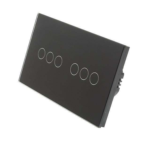 I LumoS Black Glass Double Panel 6 Gang 1 Way Touch LED Light Switch