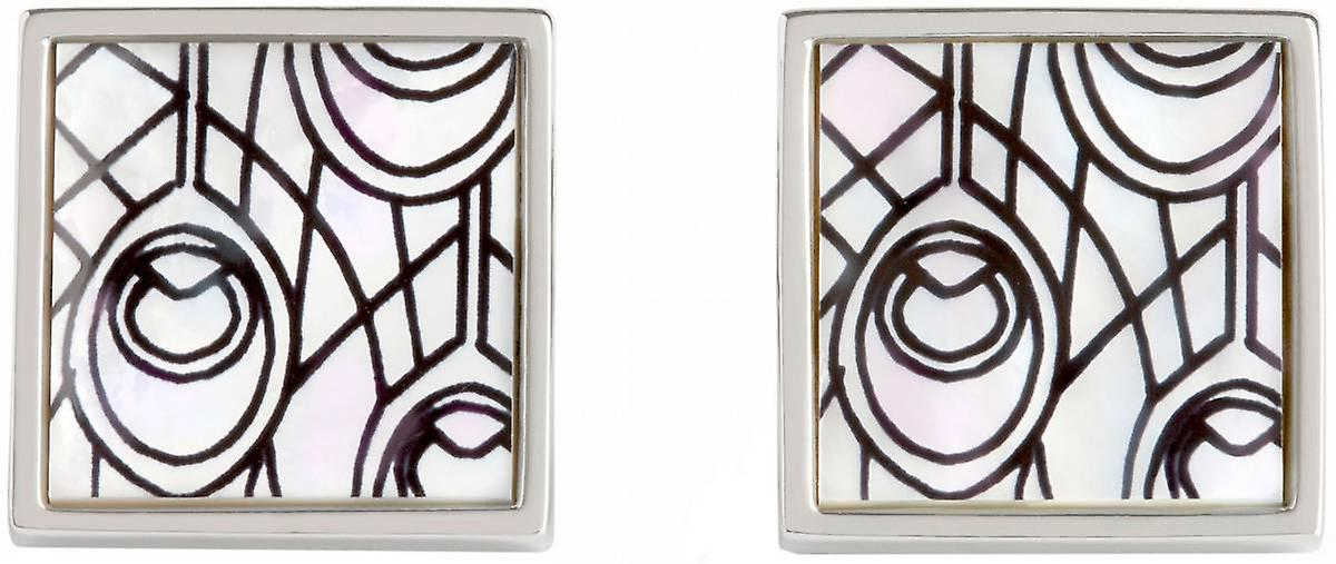 Simon Carter Peacock Feather Mother of Pearl Cufflinks - White