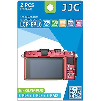 JJC Guard Film Crystal Clear Screen Protector for Olympus Pen E-PL5, E-PL6, E-PM2 - no cutting (2 Film Pack)
