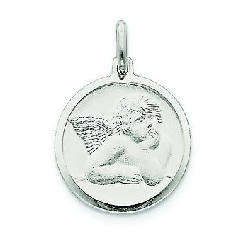 Solide Satin zilver gepolijst Engravable Angel charme - 3,0 gram