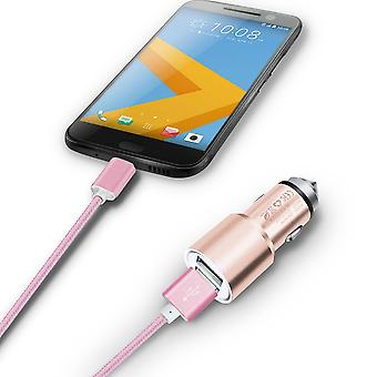 ONX3 (Rose Gold) Quick Charge Dual Port USB Full Aluminium Cased Car Charger Adaptor (3.1A/24W) With Break Glass Safety Hammer & 1 Meter Micro-USB Nylon Braded Data Cable For Gionee P8 Max