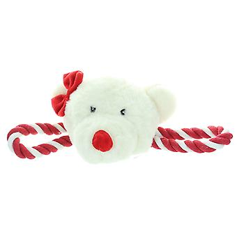 Crufts Christmas Squeaking Festive Polar Bear Pet Dog Tug Toy