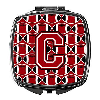 Letter C Football Red, Black and White Compact Mirror
