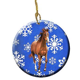 Carolines Schätze SB3150CO1 Pferd Winter Schneeflocken Urlaub keramischen Ornament