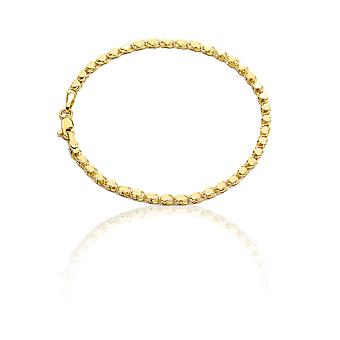 Floreo 10k Yellow Gold Relationship and Friendship Mirror Chain Hand and Ankle Bracelet with Heart Charms, 0.12