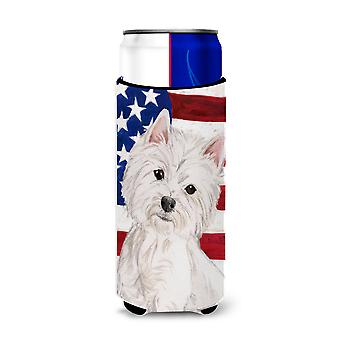 Westie Patriotic Michelob Ultra Hugger for slim cans