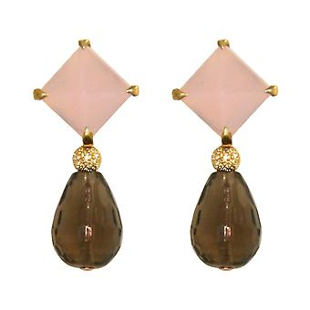 GEMSHINE earrings with Rose Quartz cabochons and smoky quartz gemstone drops. Earrings made of 925 Silver or high-quality gold-plated. Made in Munich, Germany. Delivered in the elegant jewelry.