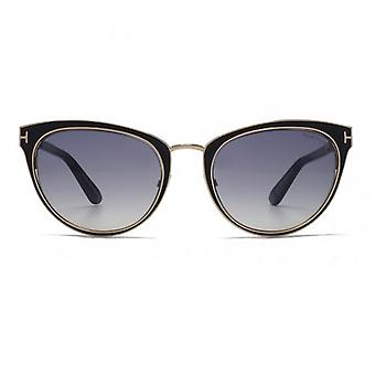 Tom Ford Nina Metal Cateye Sunglasses In Shiny Black