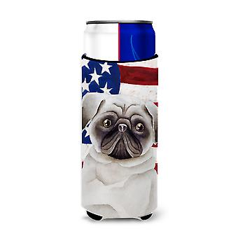 Carolines Treasures  CK1385MUK Pug Patriotic Michelob Ultra Hugger for slim cans