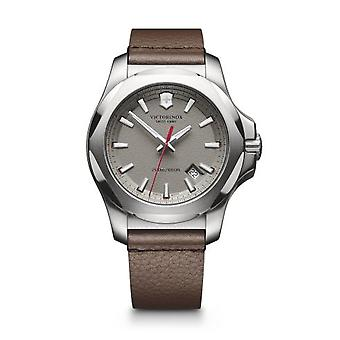 Victorinox Swiss Army 241738 I.n.o.x. Silver, Grey Dial & Brown Leather Men's Watch