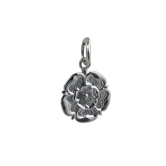 Silver 14mm Tudor Rose of England Pendant or Charm