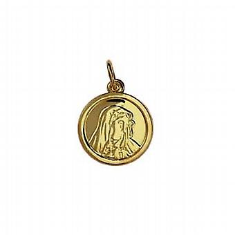 9ct Gold 13mm round Our Lady of Sorrows Pendant