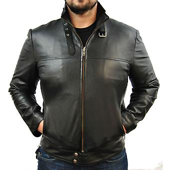 Mens Large Zip Up Leather Jacket In Black