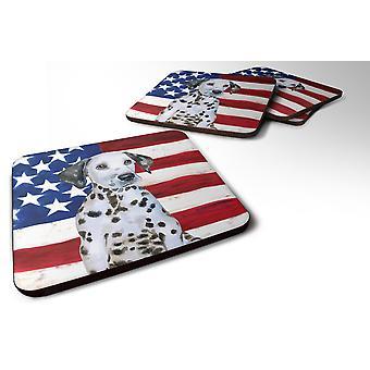 Sett med 4 Dalmatiner valp patriotiske skum Coasters sett med 4