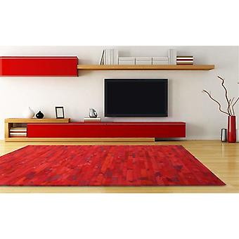 Madisons Red Cowhide Patchwork Rug