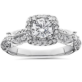 1 1/2ct Diamond Cushion Halo Vintage Engagement Ring 14K White Gold