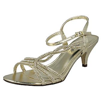 Ladies Anne Michelle Diamante Detail Peep Toe Heels