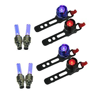 Red and Blue Rear LED Bicycle Lights with Blue Valve Wheel Lights Set of 2