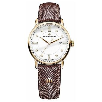 Maurice Lacroix Womens Eliros Brown Leather Strap Gold Plated Case EL1094-PVP01-150-1 Watch