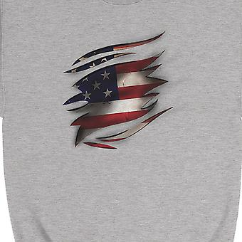 American Flag Ripped Unisex Crewneck Sweatshirt 4th Of July Outfit