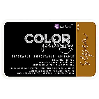 Prima Color Philosophy Permanent Ink Pad In Magnetic Case-Sepia