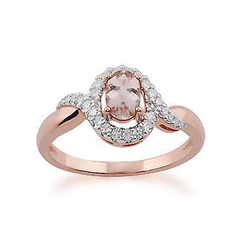 Gemondo 9ct Rotgold Morganit & Diamant-Ring