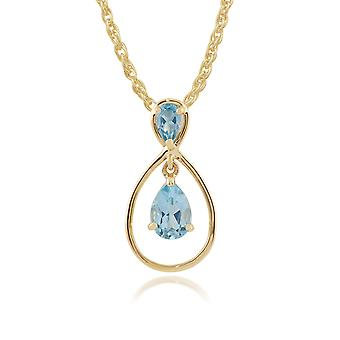 9ct Yellow Gold 0.93ct Pear Cut Blue Topaz Two Stone Drop Pendant on Chain