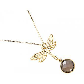 Gemshine  Halskette Anhänger 925 Silber Vergoldet LIBELLE Rauchquarz Braun