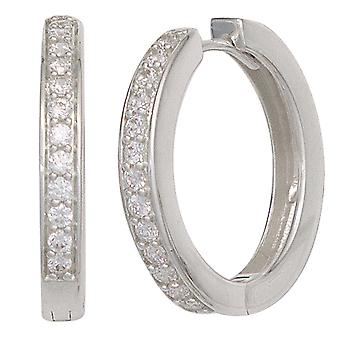 Rhodium-plated hoop earrings silver Keywork around 925 sterling silver with cubic zirconia