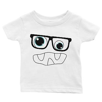 Monster With Glasses Baby Gift Tee White