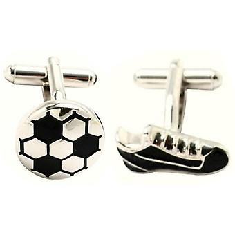 Bassin and Brown Football Cufflinks - Silver/Black